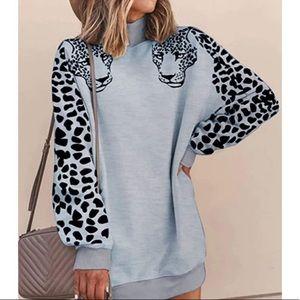 Gray tiger sweatshirt tunic